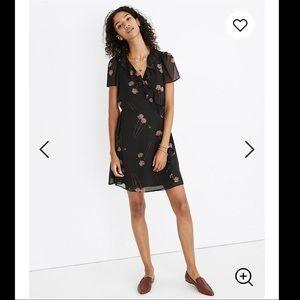 🔥🔥NWT Madewell Georgette Ruffle-Wrap Mini Dress